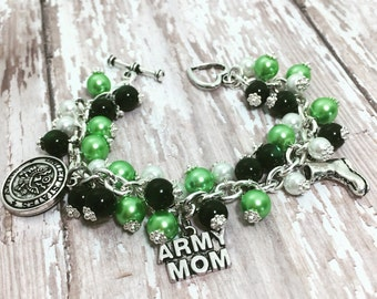 Army Mom Charm Bracelet in Stainless Steel  | US Army Bracelet | Military Mom Jewelry | Military Mom Bracelet | Proud Army Mom Jewelry