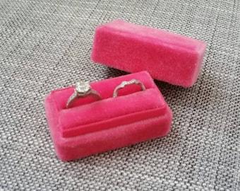 Hot Pink - Handmade - Vintage Inspired Velvet Double Ring Box - Engagement and Wedding Ring Set Holder