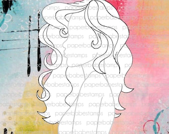 Mixed Media Templates ~ Female Profile Curly Fringe - Paperbabe Stamps - Mylar templates - For mixed media and paper crafting