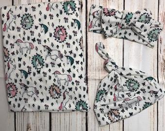 Unicorn swaddle set - swaddle blanket - headband - head wrap - beanie - newborn - baby girl -