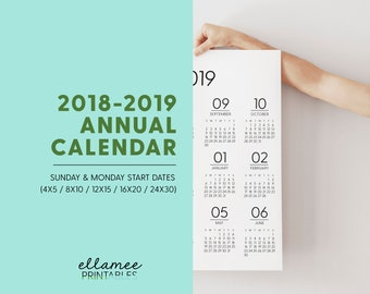 2018-2019 Annual Printable Planner Page, Planner Inserts, Annual 2018-2019, Printable Calendar, Year At A Glance Printable, Monday Start