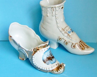 Two Antique China Shoes - Vintage Souvenirs - One Floral Boot with Think of Me, One Shoe with Southend on Sea