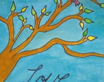 Love birds in a tree 8x10 print from watercolor painting