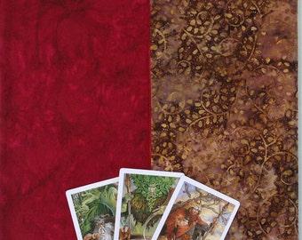 Tarot Cloth. HUNTSMAN. Red/Brown. Reversible spread cloth for tarot cards, runes & altars. Altar cloth. Matching tarot bag option.