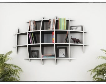 OVAL BOOKCASE - template cnc cutting file - Sliced 3d Model Floating Shelves, Hanging Bookshelf, Bookshelves, Wall Shelf,  Living Room