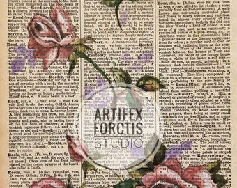 Print: Antique Dictionary Art 'Rose' Watercolor Painting