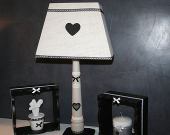 lamp black and taupe heart