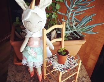 Bunny doll, bunny, rabbit, rag doll, soft doll, nursery decor, home decor, heirloom doll, art doll, collectible doll, baby gift