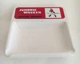 Vintage Ashtray Retro Ashtray Johnnie Walker Red Label  Scotch Whisky Ashtray  Barware Novelty Ashtray Whisky Drinker Vintage Barware