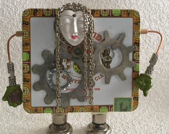 Steampunk Assemblage,Recycled,Cigar Tin Doll,Whimsy,Dreadlocks doll,hip hop,Reggae,Grunge Art,Outsider Art,OOAK,Jamaica,Dominican Republic