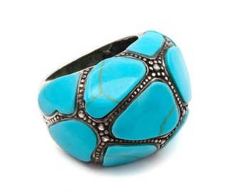 Faux Turquoise Dome Ring, Chunky Ring, Large Statement Ring, 925 Sterling Silver Ring, Wide Band Ring, Large Blue Stone Ring, Ring Size 7