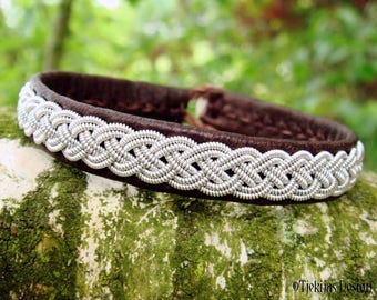 Sami Norse Bracelet ASGARD Brown Leather Viking Bracelet for Men and Women | Custom Handmade Scandinavian Jewelry