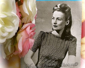 """Vintage 1940s Knitting Pattern Copy For A Lady's """"Lattice"""" Jumper. Fit 34 Inch Bust"""