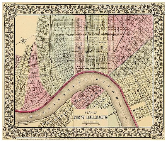 antique colored map new orleans french quarter mississippi