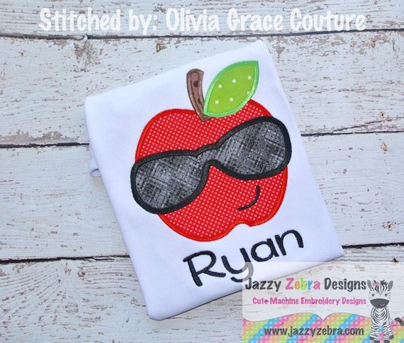 Apple wearing Sunglasses Appliqué embroidery Design - school appliqué design - teacher appliqué design - apple appliqué design