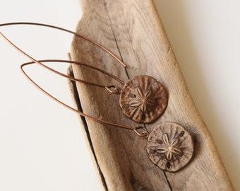 Copper Sand-dollar Big Hoop Earrings, Copper ear wires.  Pierced Ears.