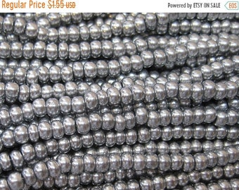 ON SALE 6/0 Bright Silver Czech Glass Seed Beads 12 grams