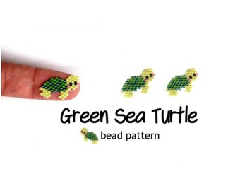 Green Sea Turtle Seed Bead Pattern, Hawaiian Honu, Brick Stitch Beading