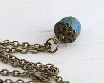 Acorn Necklace .. blue acorn necklace, autumn necklace, rustic necklace, cobalt blue pendant, fall necklace, acorn pendant, blue pendant