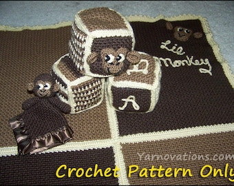 Lil Monkey Baby Blanket, Security Blanket and Toy Blocks Set - crochet pattern