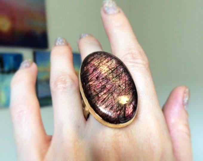 Purple Labradotite Triple Banded Cuff Ring, Size 7.5
