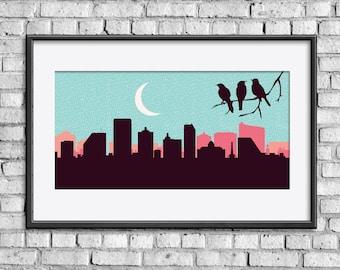 Atlantic City skyline, Atlantic City poster, Atlantic City art, Atlantic City print, Birds print, Birds art, Birds poster, Birds nursery art