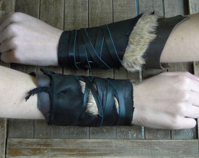 Leather Cuffs - Warrior Viking Tribal Larp Costume Cosplay - Pair #5b