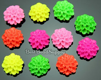 20 pcs 20mm Resin Flourescent Neon Chrysanthemum Flower Cabochon Beads For Scrapbooking or Kawaii Phone Cases