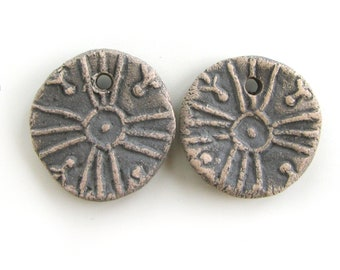 Small Craft Beads - coin beads, grey beads, hand made beads, ceramic jewelry, ceramic earrings, woman, inspired earrings, ethnic beads