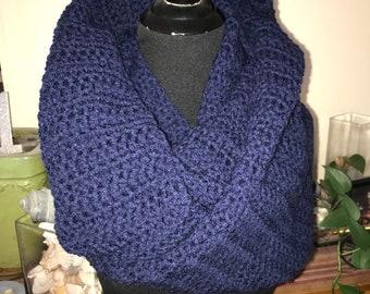 Hand Crocheted  Infinity Scarf - Dark Navy
