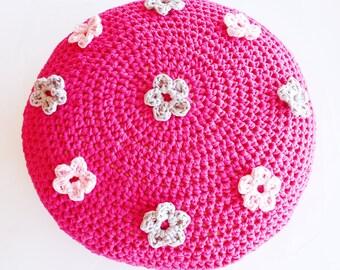 Crochet Flower Pouf Ottoman Floor Cushion Pattern - Instant Download