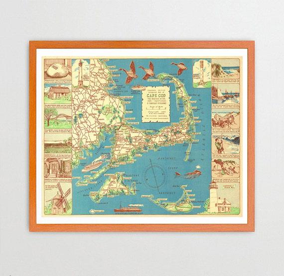 Massachusetts Map - Cape Cod Map - Martha's Vineyard Map - Nantucket Map - Cape Cod Map Art - Martha's Vineyard Poster - Nantucket Poster