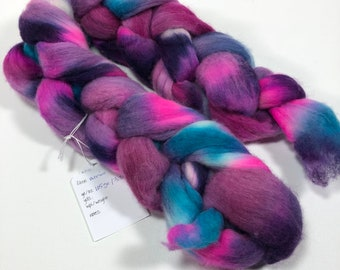 merino hand-dyed roving, spinning fiber, kettle-dyed combed top in pink, purple , turquoise, 3.7 oz