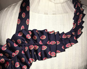 Repurposed vintage mens necktie bib necklace scarf