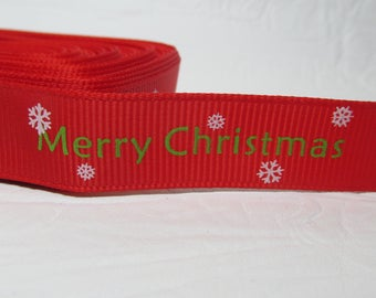 "5 yards Grosgrain ribbon 5/8"" Merry Christmas tree, snowflakes on red background"