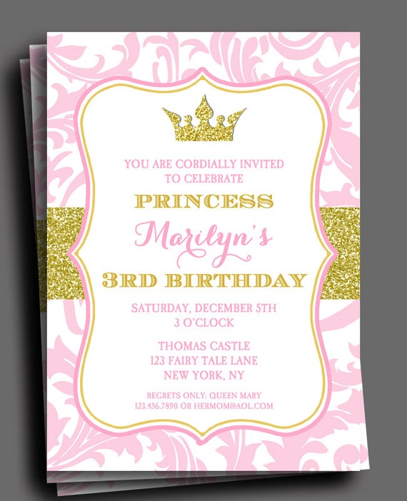 1 Year Baby Birthday Invitation Quotes: Princess Party Invitation Or Printed With FREE SHIPPING