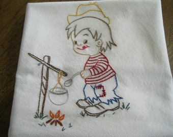 New Handmade Embroidered Flour Sack Kitchen Dishcloth Towel