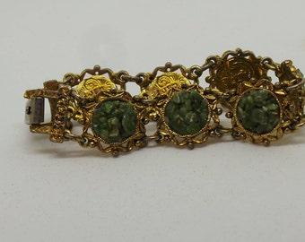 Gold and jade bracelet, vintage link bracelet , natural stones