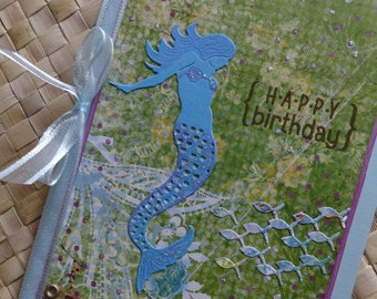 Mermaid birthday card with school of fish