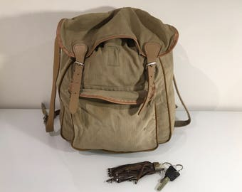 Vintage Khaki Green Faded Canvas Military Drawstring Backpack Rucksack