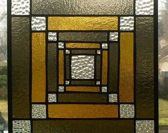 Square Sacred Geometry Stained Glass Panel