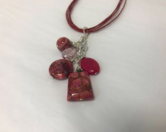 Fuchsia  Crazy Lace Agate Pendant Cluster Necklace