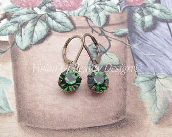 Estate Style Swarovski Tourmaline Green Drop Earrings