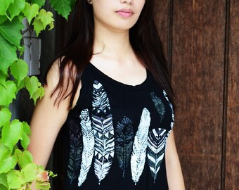 tank - top has fringes - ethnic motif - feathers - fringes top - shopaholic