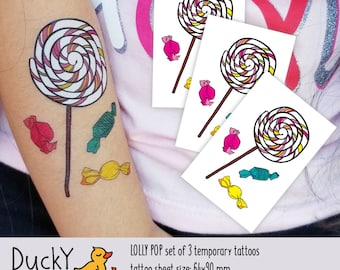 Set of 3 temporary tattoos Lolly pop with candies. Yummy sweets for your littles! Kids birthday party favors and goodie bag fillers. TT269