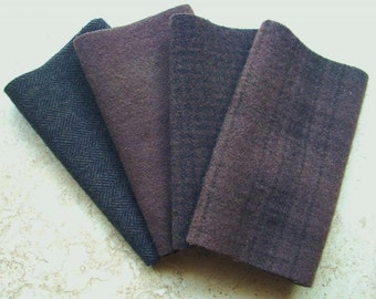 """Hand Dyed Felted Wool, CHOCOLATE CHIP, Four 6.5"""""""" x 16"""" pieces in Deep Mink Brown, Great for Backgrounds"""