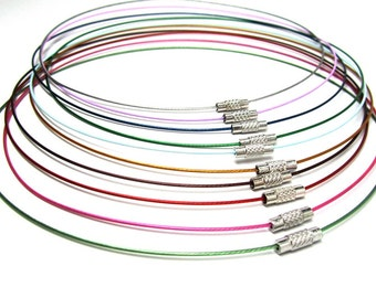 20 pcs. Memory Wire Choker Coated Necklaces with Silver Screw Clasp - 18 inch - 1mm - THICK - 10 Colors - HIGH QUALITY