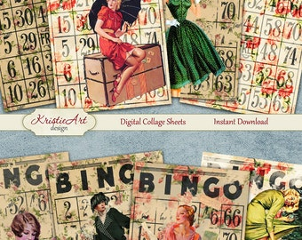 75% OFF SALE Bingo Life - Digital Collage Sheet Digital Cards C105 Printable Download Image Tags Digital Atc Bingo Card ACEO Collage