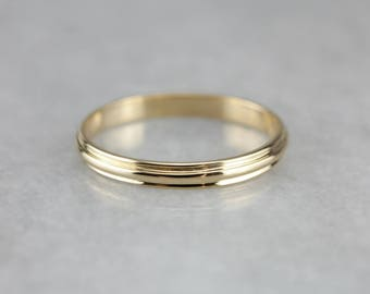 Grooved Gold Stacking Band, Vintage Wedding Ring, Yellow Gold Band 7UAXWEDT-N