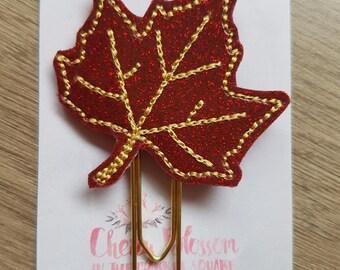 Autumn Maple Leaf Paper Clip Red
